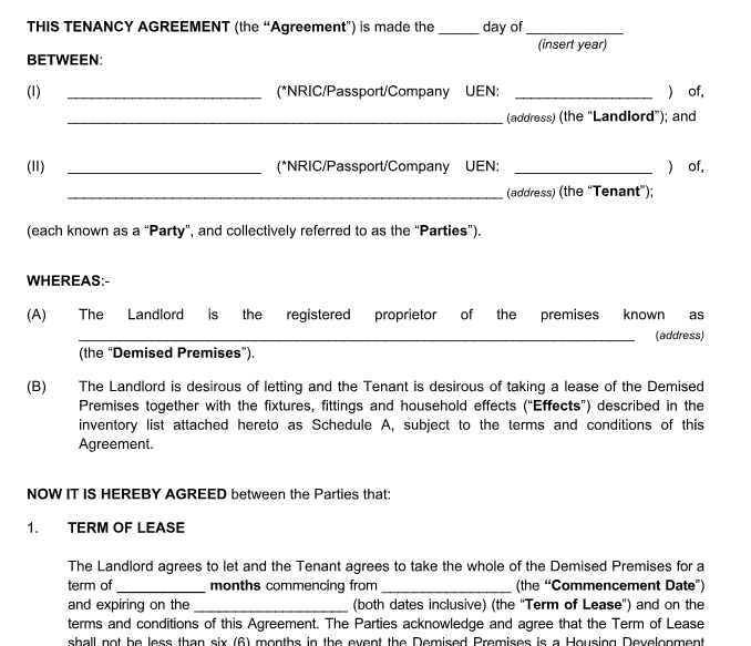 tenancy agreement for renting in singapore - example
