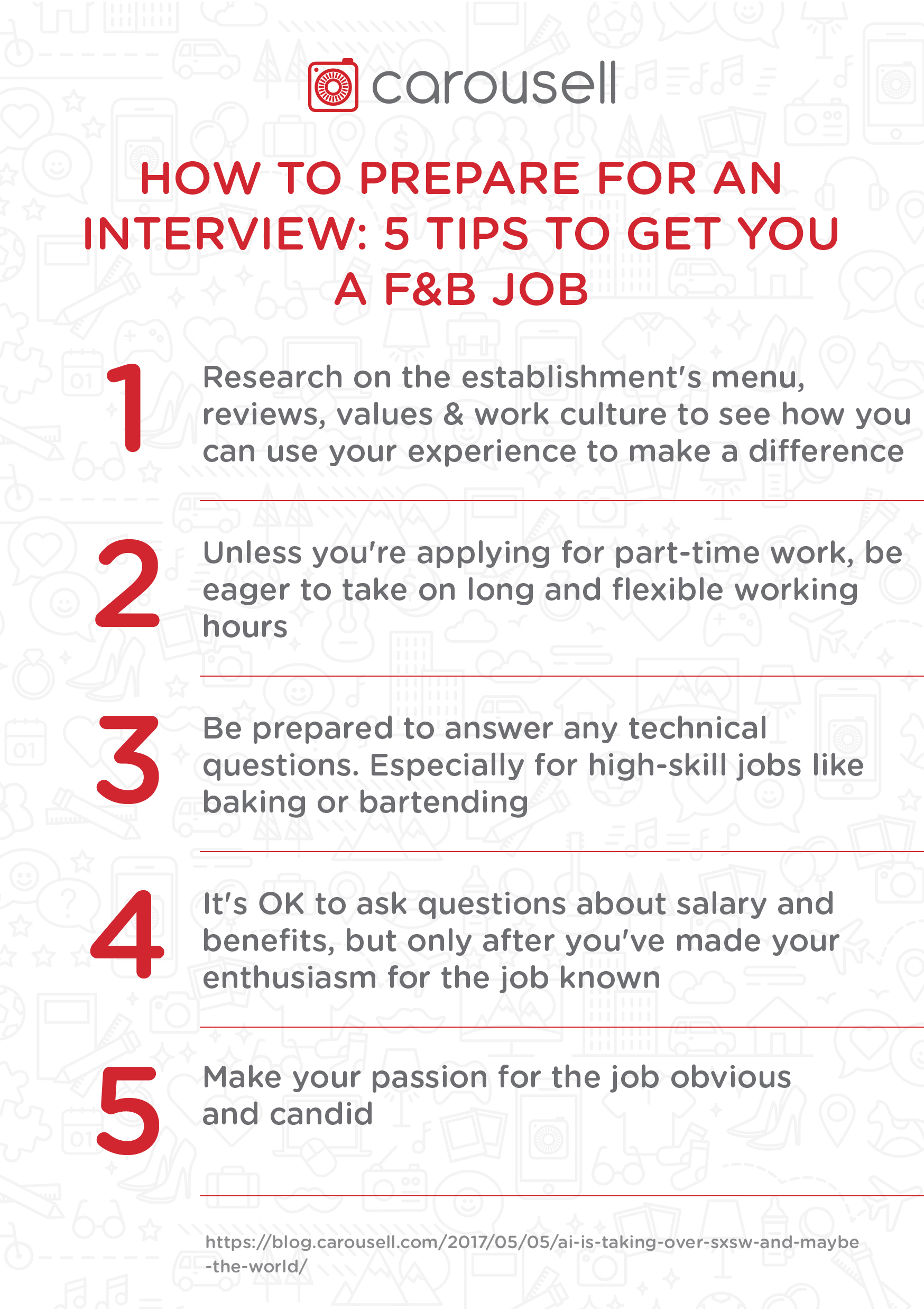how to prepare for an interview Regardless of the type of interview you're preparing for, doing plenty of research and planning is key generally, you should: on the morning of your interview, eat a healthy breakfast and don't consume too much caffeine you can combat nerves by exercising - if you have time, of course - as this.